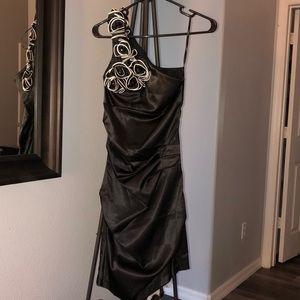Black satin formal one shoulder dress